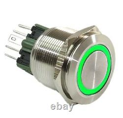 25mm Stainless Steel Push Button GREEN Halo Angel Eye LED On / Off Light Switch