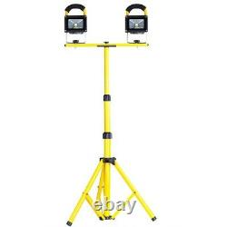 2pc 10W Rechargeable LED Flood Light Camp Work Emergency Lamp & Tripod Stand Set