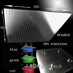 31 LED Multicolor Ceiling Mount Showerhead, Brushed Stainless Steel Square