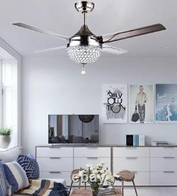 44Crystal LED Chandelier Invisible Ceiling Fan Light Ceiling Fixture with Remote