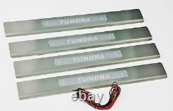 Blue LED Stainless Steel Door Sill Scuff Guards For 2007-2013 Toyota Tundra New