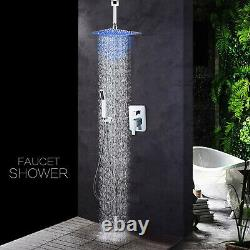 Chrome Shower Combo Set System LED 12 inch Rainfall Shower Head with Hand Shower