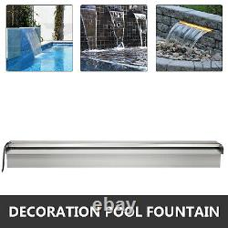 Color Changing 35.4 Lighted Spillway LED Stainless SteelWall Pond Spillway