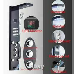 ELLO&ALLO Rainfall Waterfall LED Shower Panel Tower with Massage Body Jet System