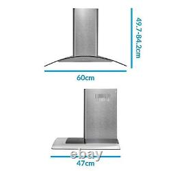 ElectriQ 60cm Curved Glass Chimney Cooker Hood Stainless Steel