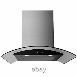 ElectriQ 60cm Stainless Curved Glass Touch Control Chimney Cooker Hood 5 Year