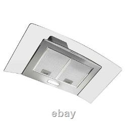 ElectriQ 90cm Curved Glass Chimney Cooker Hood Stainless Steel