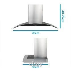 ElectriQ 90cm Stainless Steel Curved Glass Chimney Cooker Hood