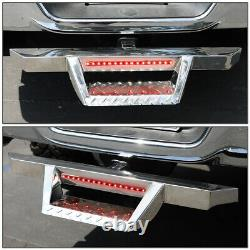 FOR 2 TOW TRAILER RECEIVER CHROME HITCH STEP BAR BUMPER GUARD WithLED BRAKE LIGHT