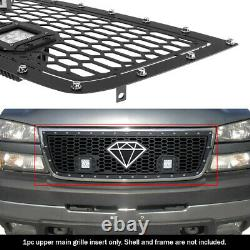 Fits 2005-2006 Chevy Silverado 1500/2500/3500 Stainless Black Mesh LED Grille