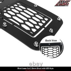 Fits 2011-2016 Ford F250/350/450/550 SD Upper Stainless Black Mesh LED Grille