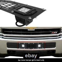 Fits 2015-2019 Chevy Silverado 2500/3500 Bumper Stainless Black Mesh LED Grille