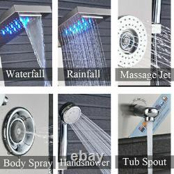 LED Stainless Steel Shower Panel Column Complete System Unit Body Jets Mixer Tap