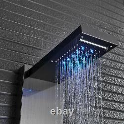 LED Stainless Steel Shower Panel Tower Rain Waterfall Massage System Jets Black
