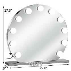 Large 27.6' Hollywood Makeup Mirror Lighted Vanity Mirror with Dimmer Round