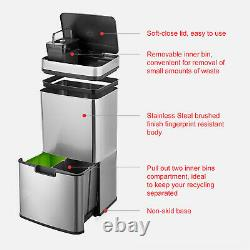 Large 72L Stainless Steel 3 Compartment Waste Recycling Infra Red LED Sensor Bin