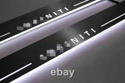 Led Stainless Steel Door Sill Scuff Plate Guards 2pc For Infiniti Q50 2014-2019
