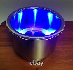 Pactrade Marine Boat RV Camper Blue LED SS Cup Drink Holder With Drain Tube