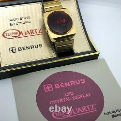 Rare Vintage 1974 BENRUS Red LED Men's Watch with Box & Papers