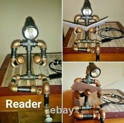 Robot Pipe Lamp Black and Brass Desk Lamp Dorm Room Made in USA Father's Day