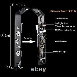 Rozin Shower Panel Tower LED Rainfall Waterfall Massage System with Body Jet