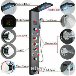 Shower Panel Tower LED Rainfall& Waterfall With Massage System Body Sprayer Jets