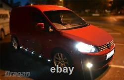 Side Bars + White LEDs For Volkswagen Caddy 2010 2015 Polished Stainless Steel