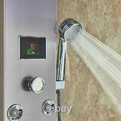 Stainless Steel LED Rainfall Shower Panel Tower Faucet Massage Body Jets System