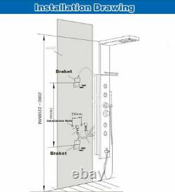 Stainless Steel LED Rainfall Shower Panel Tower Faucet Massage System Body Jets