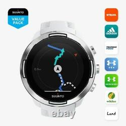 Suunto 9 Baro Ultra-endurance White GPS Watch with Extended Battery Life Modes