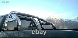 To Fit 05 15 Mitsubishi L200 Sport Roll Bar Stainless Steel + LED Brake Light