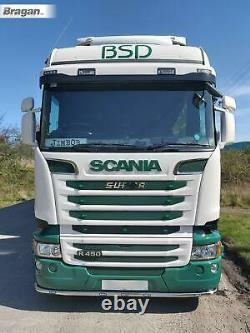 To Fit 2009+ Scania P G R 6 Series Low Bar + LEDs Stainless Steel Bumper Guard