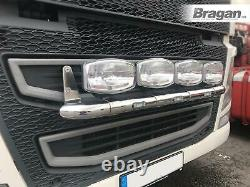 To Fit Volvo FH4 2013+ Grill Light Bar Stainless Steel Front Lamp + White LEDs