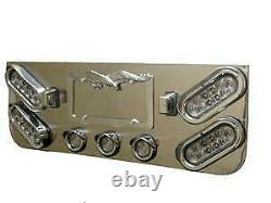 Trailer Rear Light Panel Stainless Steel Clear Red LEDs