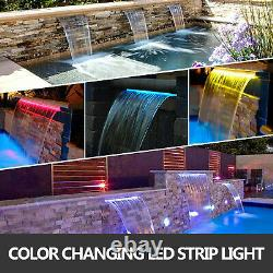 VEVOR 47.2 Pool Fountain Waterfall Spillway Multi-Color LED Stainless Steel