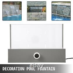 VEVOR Pool Fountain 11.8 Waterfall Spillway Remote Control LED Stainless Steel