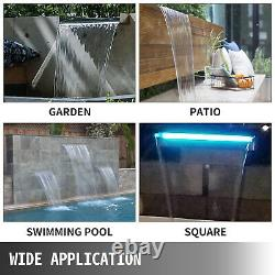 VEVOR Pool Fountain 36.2 Waterfall Spillway Remote Control LED Stainless Steel