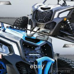 Xprite Black Front Mesh Grille with 8 LED Lightbar for 17-21 Can-Am Maverick X3