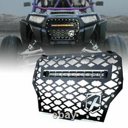 Xprite Steel Grille Mesh with 14inch LED Light Bar for Polaris RZR XP 1000 Turbo