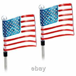 2-pc Outdoor Solar Powered American Flag Solar Garden Stake Lumière Led Blanche