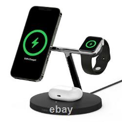 Belkin 15w Sans Fil Chargeur Rapide / Stand Magsafe Pour Iphone 12/air Pod/apple Watch