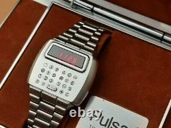 Calculatrice Pulsar Time Computer Led 1975 / Box, Stylus & Booklet #7279