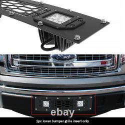 Convient 2009-2014 Ford F-150 Lower Bumper Inoxydable Black Mesh Led Grille Insert