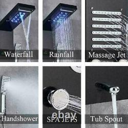 Led Black Shower Panel Column Tower With Body Jets Waterfall Bathroom Mixer Taps