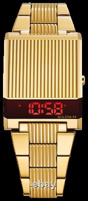Nouvelle Bulova Computron Red Led Digital Retro Stainess Steel Men's Watch 97c110