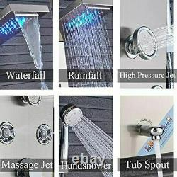 Rozin Shower Panel Tower System Led Rainfall Waterfall Shower With Body Jets