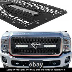 S'adapte 2011-2016 Ford F250/350/450/550 Sd Tige Inoxydable Noir Mesh Led Grille